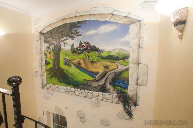 Peinture d corative paysage trompe l oeil et lettrages for Paysage interieur exterieur