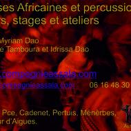 Cours de danses et percussions africaines  & spectacle et concerts